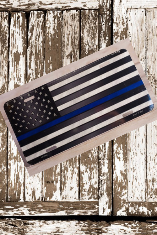 Thin Blue Line Flag License Plate by East Coast Waterfowl