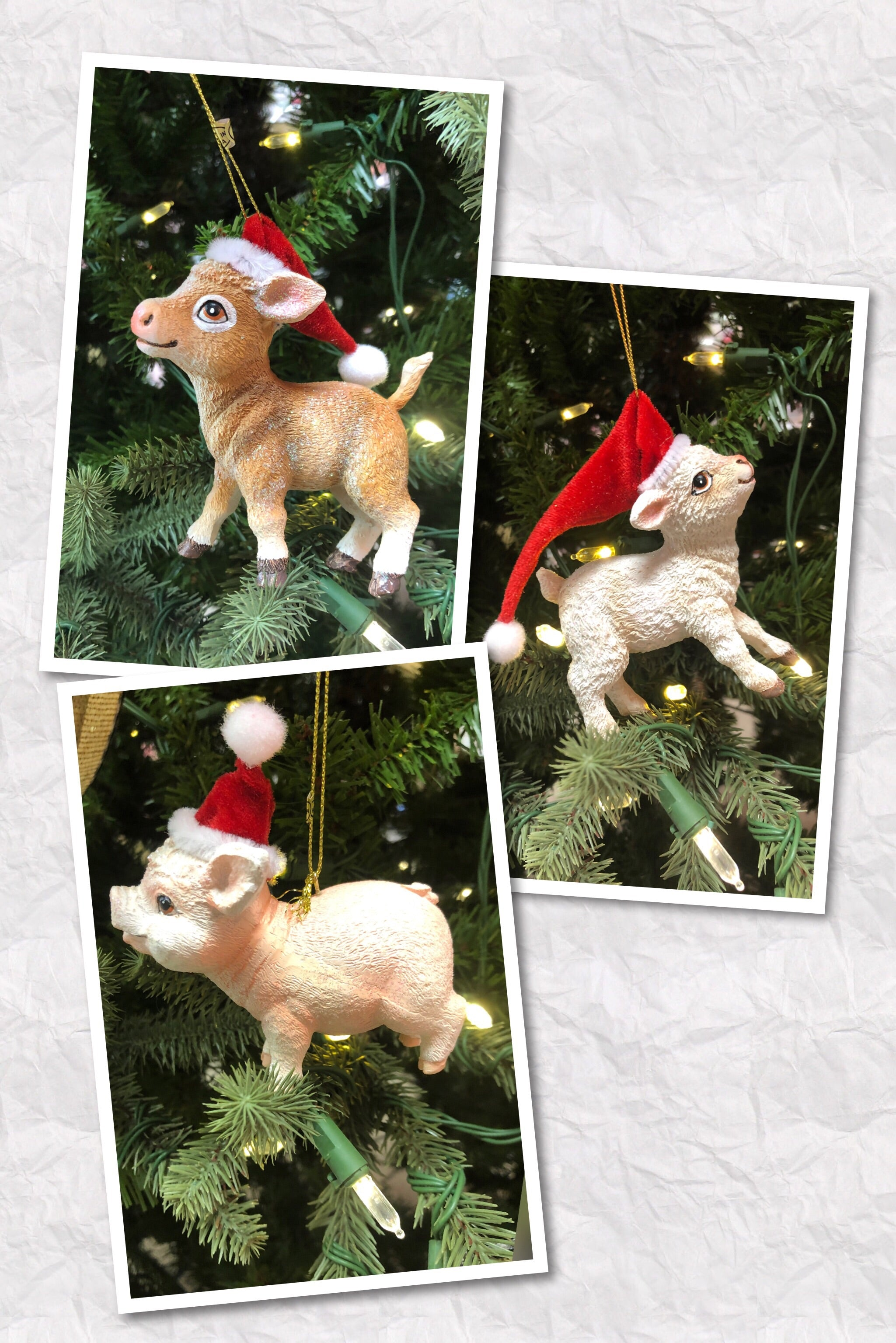 Christmas Farm Yard Animals Resin Ornament