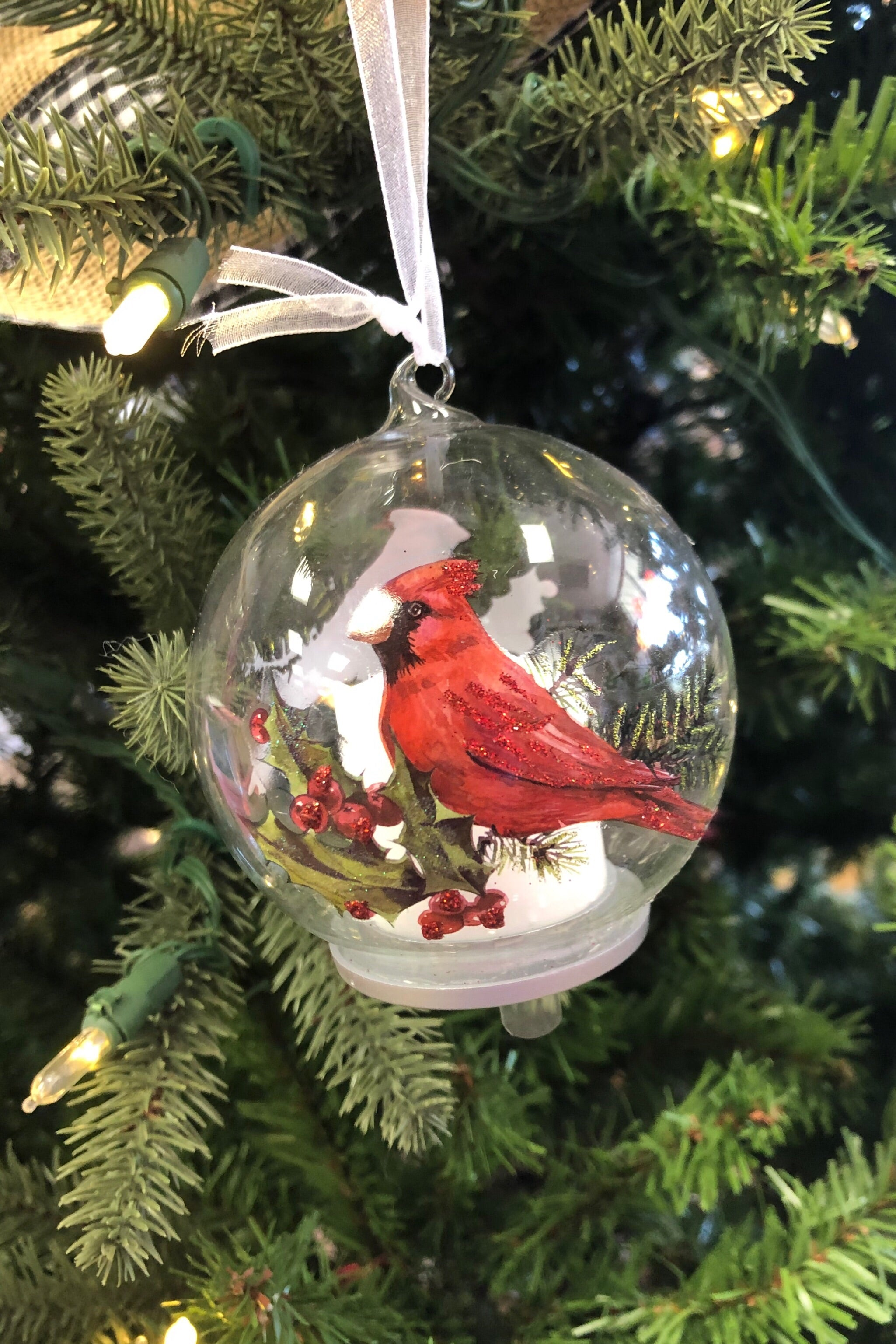 Glass Cardinal  LED Candle Ornament