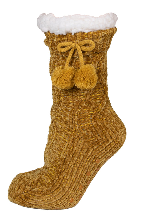Mustard Chenille Camper Socks by Simply Southern
