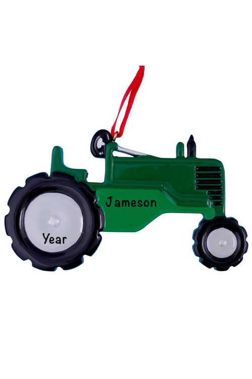 Personalized Ornament ~ Green Tractor