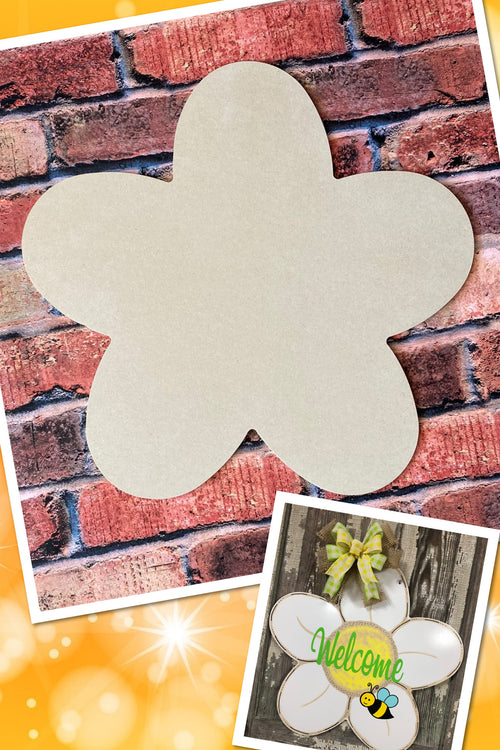 """Flower"" Wooden Door Hanger ~ Paint Yourself"