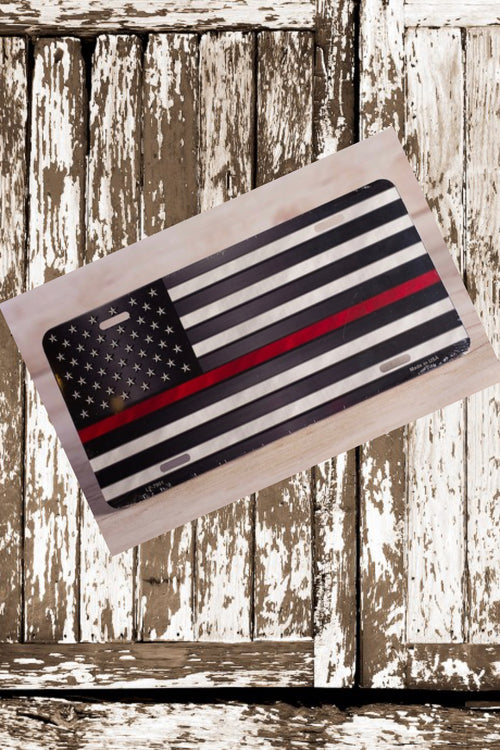 Thin Red Line Flag License Plate by East Coast Waterfowl