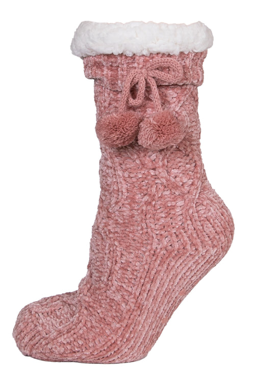 Crepe Pink Chenille Camper Socks by Simply Southern