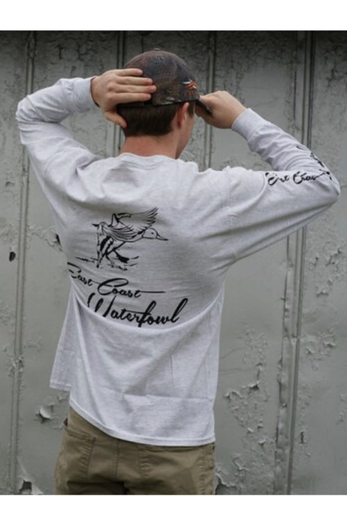 Gray ECW Long Sleeve Pocket T-Shirt by East Coast Waterfowl