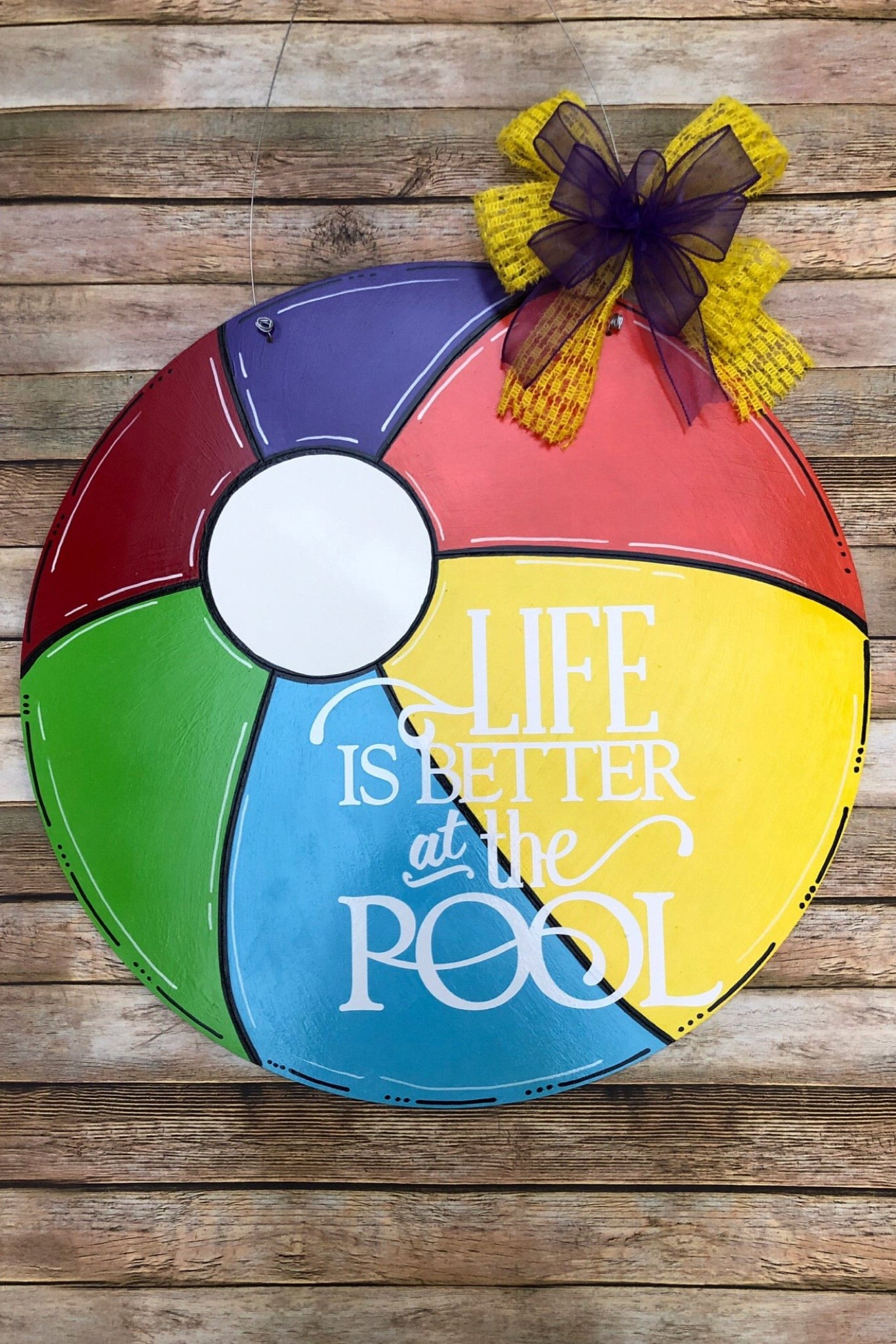 """Beach Ball"" Wooden Door Hanger"