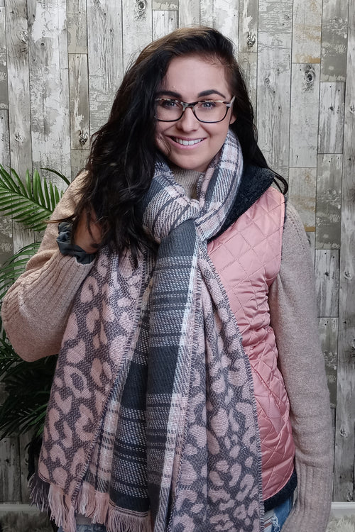Leopard/Pink Plaid Double Scarves by Simply Southern
