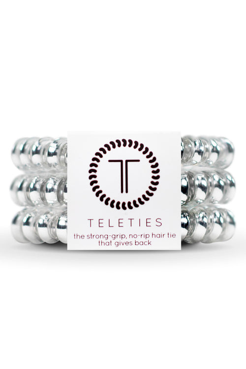 Teleties ~ Electric Silver, Small 3 pack