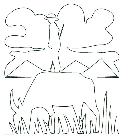 Boy on Waterbuffalo quilting pattern