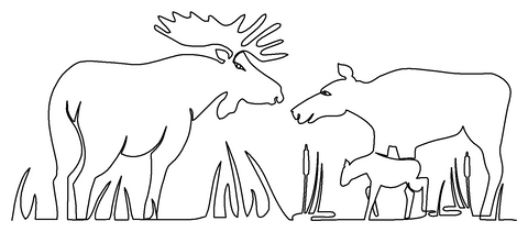 Moose Family quilting pattern