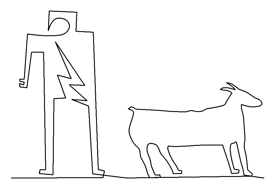 Petroglyph Goat and Person 2 quilting pattern