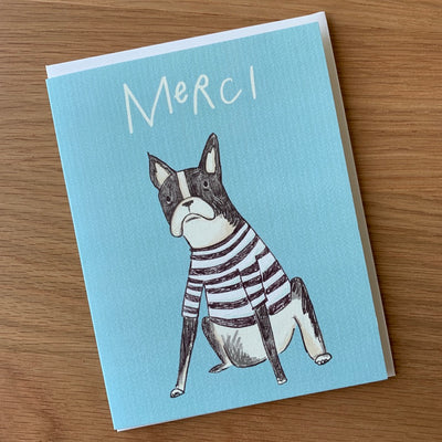 "Thank You Card ""Merci Frenchie"""