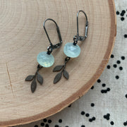 Gunmetal Branch + Gemstone Earring