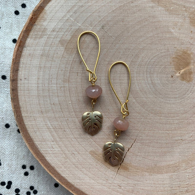 Gold Botanical + Gemstone Earrings