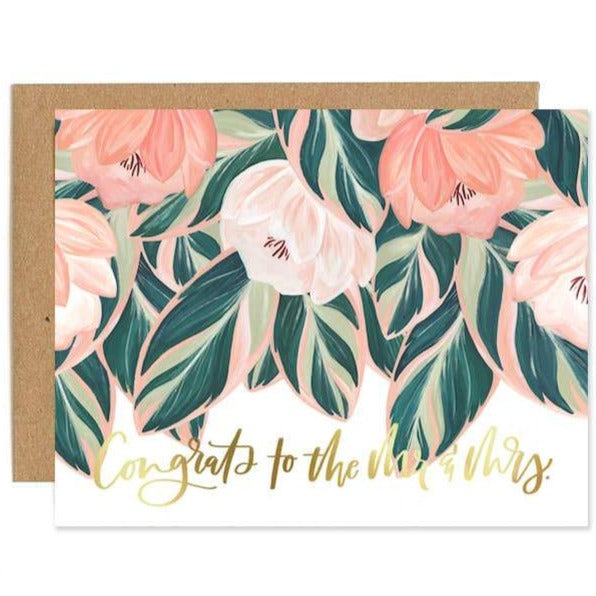 "Wedding Card ""Congrats"" Floral"