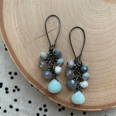 Gunmetal Cluster Earrings
