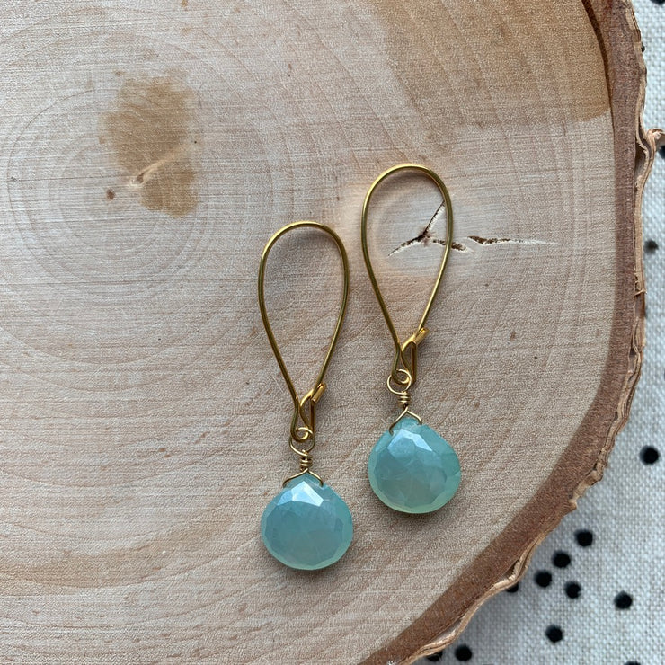 Gold Gemstone Short Earrings