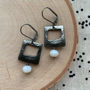 Gunmetal Square Earrings