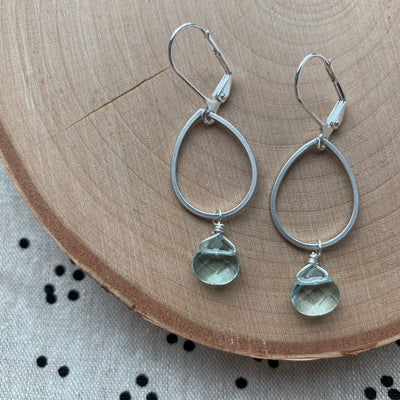 Silver Geo + Gemstone Earrings