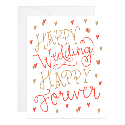 "Wedding Card Letterpress ""Happy Forever"""