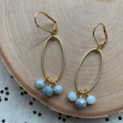 Gold Oval Cluster Earrings