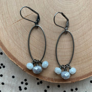 Gunmetal Oval Cluster Earrings