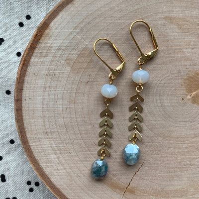 Gold Fishtail + Gemstone Earrings
