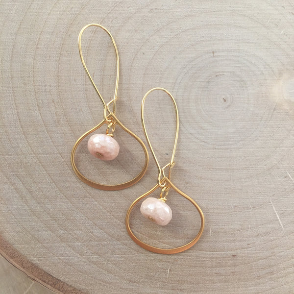 Gold Teardrop + Gemstone Earrings