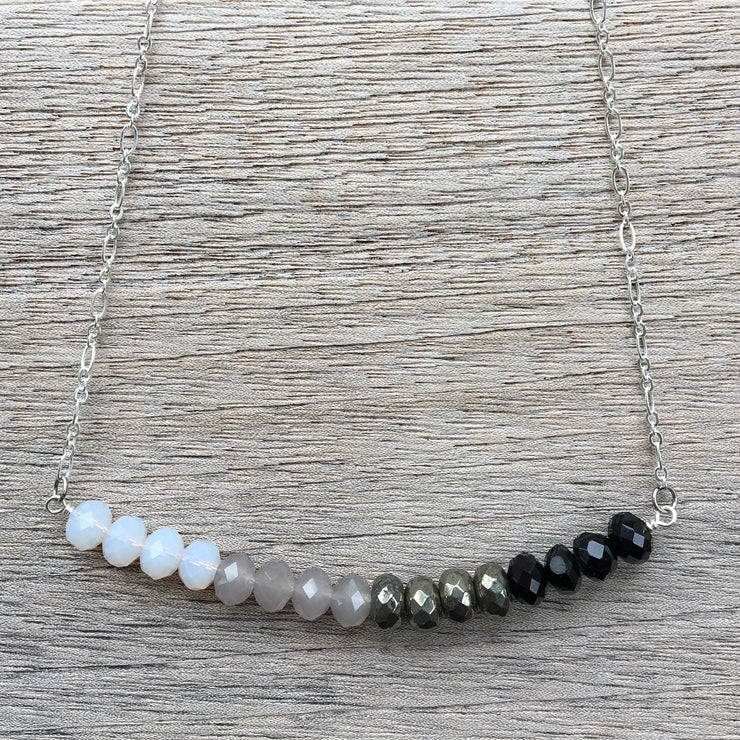 Silver Bar Ombre Necklace