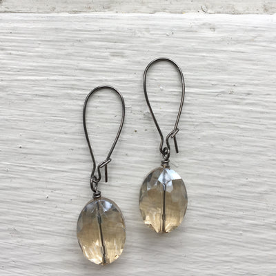 Gunmetal Glass Earrings