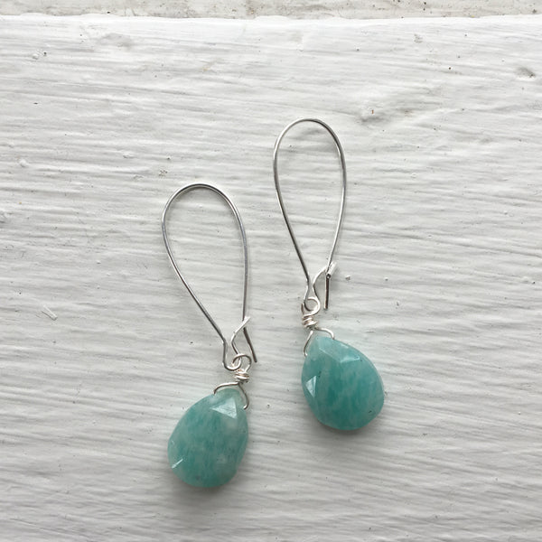 Silver Gemstone Short Earrings
