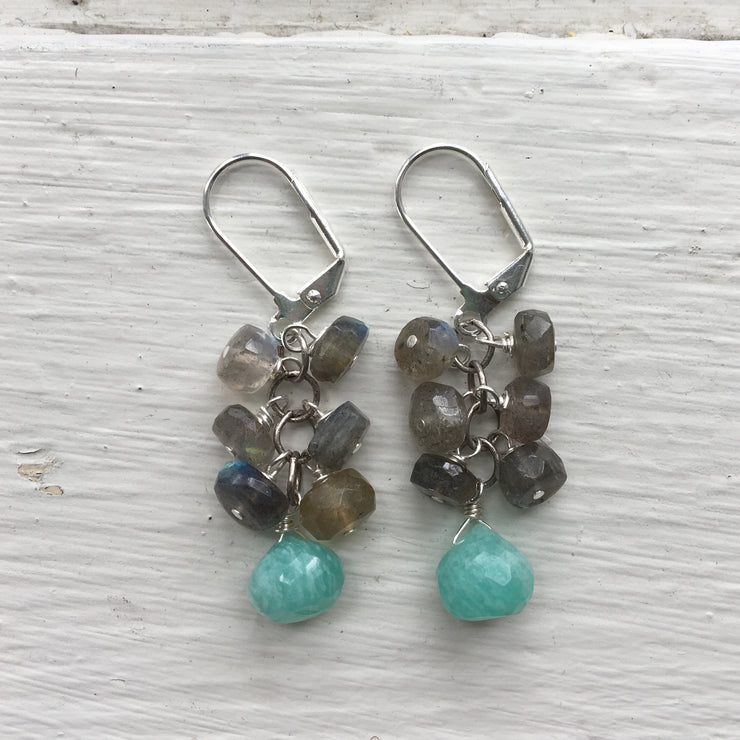 Silver Gemstone Cluster Earrings