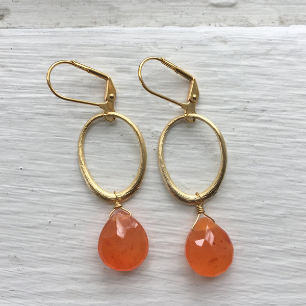 Gold Oval + Stone Earrings