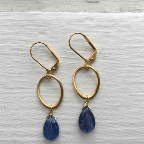 Gold Oval + Stone Earring