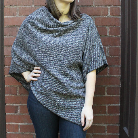 Winter Ribbed Knit Poncho