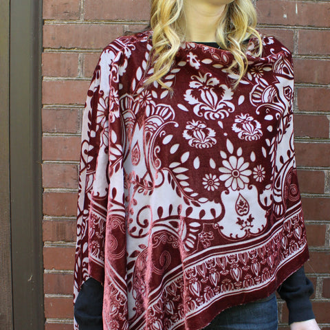 Silk Burnout Velvet Poncho