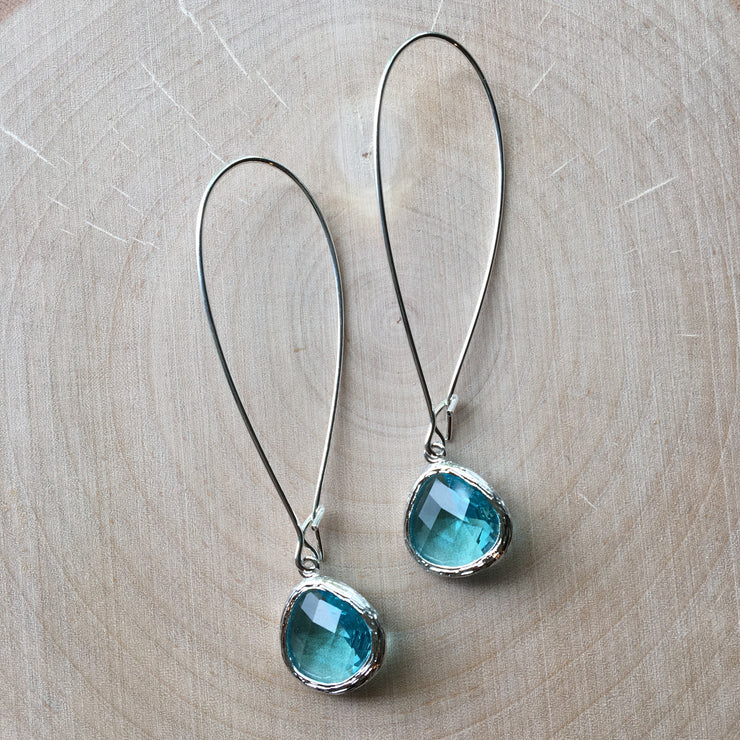 Silver Glass Drop Earrings