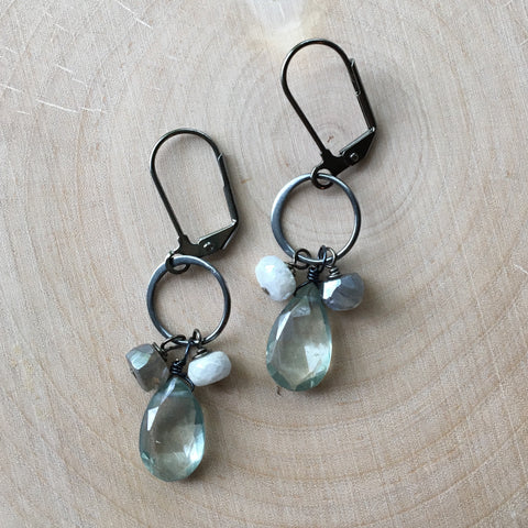 Gunmetal Ring Cluster Earrings