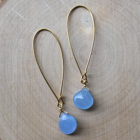 Gold Gemstone Drop Earrings