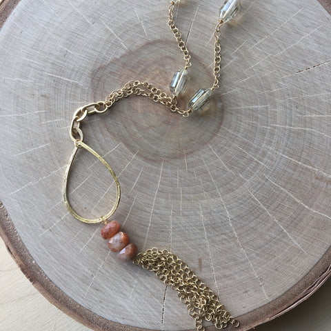 Gold Pendant Wire Wrap Necklace
