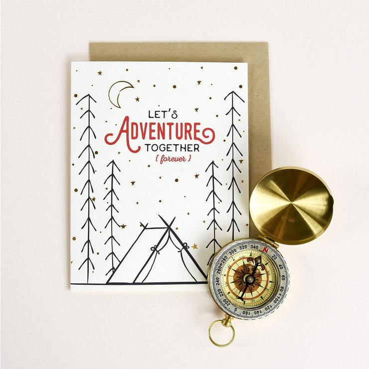 "Anniversary Card Letterpress ""Adventure Forever"""
