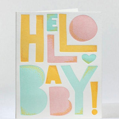 "Baby Card Letterpress ""Hello Baby"""