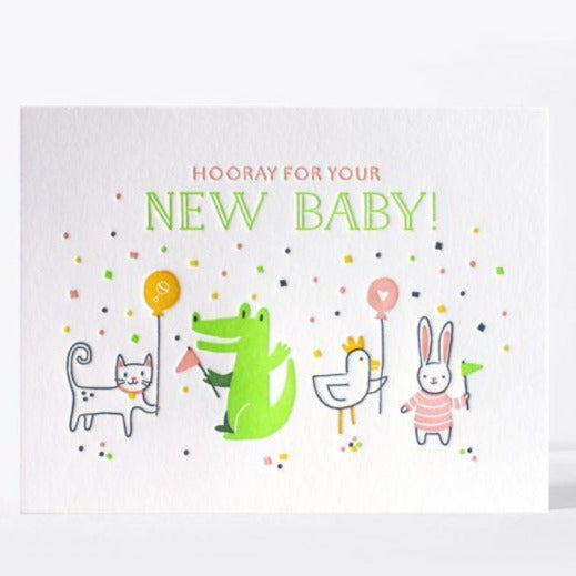 "Baby Card Letterpress ""Hooray!"""