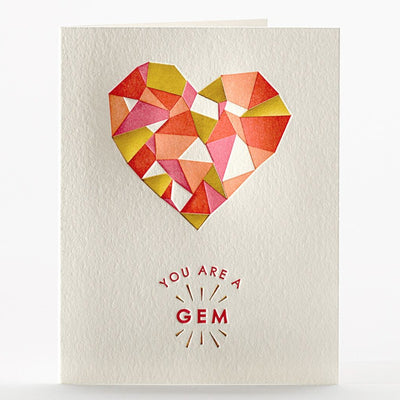 "Love & Friendship Card Letterpress ""Gem"""