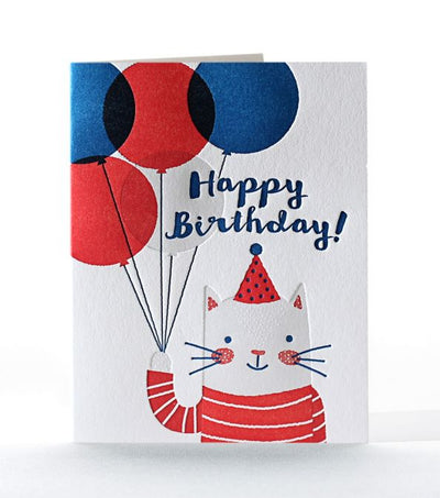 "Birthday Card Letterpress ""Grey Cat HBD"""