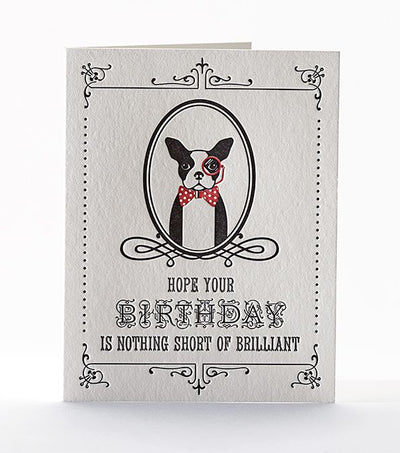 "Birthday Card Letterpress ""Brilliant Boston Terrier"""