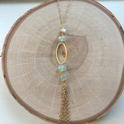 Gold Tassel Wire Wrap Necklace