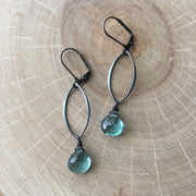 Gunmetal Geo Link + Gemstone Earrings