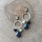 Silver Ring Cluster Earrings