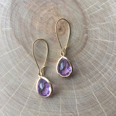Gold Framed Glass Short Earrings